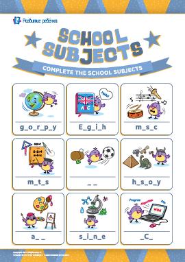 Вписываем пропущенные буквы: «Школьные предметы» (английский язык)