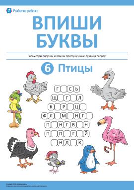 Впиши буквы: птицы