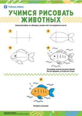Учимся рисовать животных: рыбка