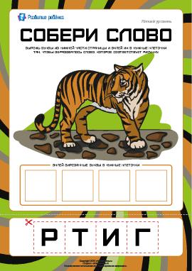 Собери слово «тигр»: легкий уровень