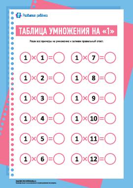 Таблица умножения числа «1»