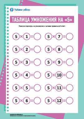 Таблица умножения числа «5»