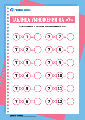 Таблица умножения числа «7»