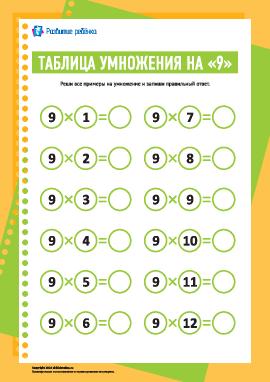 Таблица умножения числа «9»