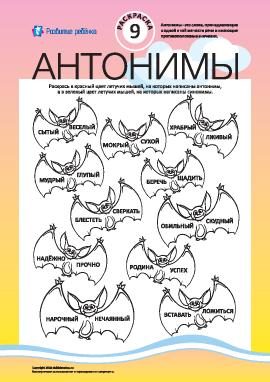 Раскрась антонимы и синонимы №9 (русский язык)