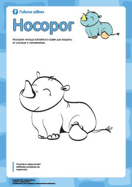 Раскраска «Носорог»