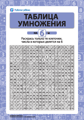 Раскраска «Учим таблицу умножения на 6»