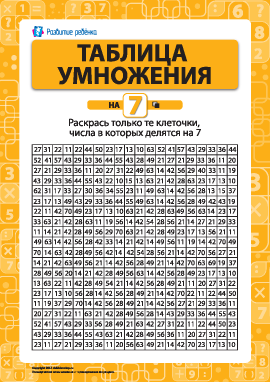 Раскраска «Учим таблицу умножения на 7»