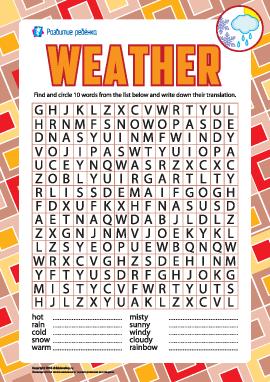 Ищем английские слова: погода