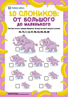 10 слоников: сравнение чисел в пределах 100