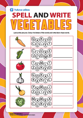 Пишем по буквам названия овощей (английский язык)