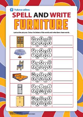 Пишем по буквам названия предметов мебели (английский язык)
