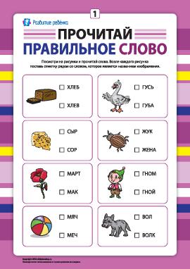 Выбери правильное слово №1 (развитие навыков чтения)