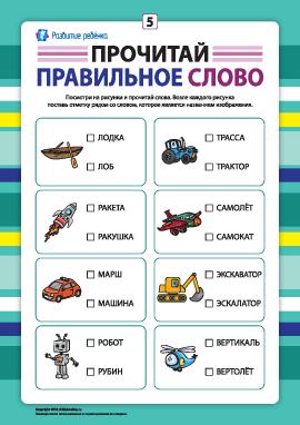 Выбери правильное слово №5 (развитие навыков чтения)