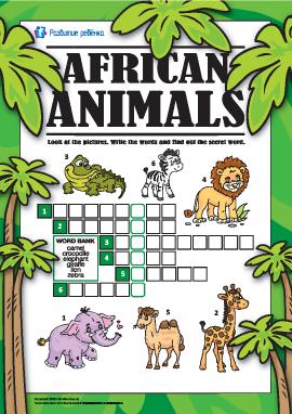 Кроссворд на английском «Африканские животные»