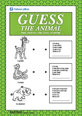 Учим can/can't и has got/hasn't got: отгадай животное