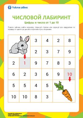 Числовой лабиринт №2: цифры от 1 до 10