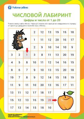 Числовой лабиринт №8: цифры от 1 до 20