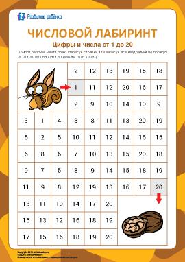 Числовой лабиринт №10: цифры от 1 до 20