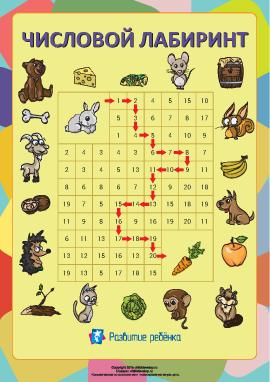 Числовые лабиринты: цифры и числа от 1 до 20