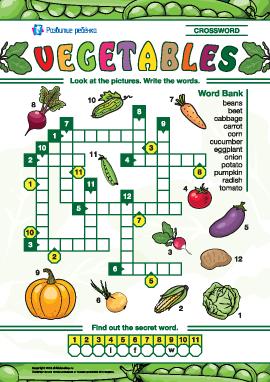 Кроссворд на английском «Овощи»