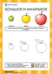 Большое и маленькое: раскраска яблоки – Развитие ребенка