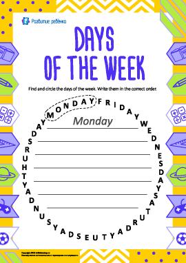 Изучаем названия дней недели (английский язык)