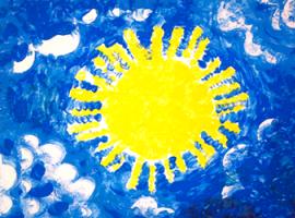 Как пальчиковыми красками создать солнечную картину