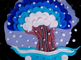 Зимнее дерево: объемное панно из пластилина