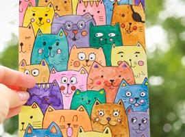Акварельные коты: интересная графика для детей