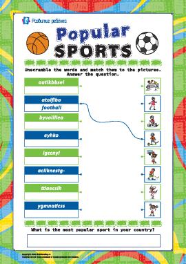 Анаграмма «Виды спорта» (английский язык)