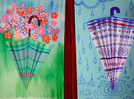 Аппликации по настроению - объемные зонтики