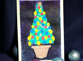 Как нарисовать елку пальчиковыми красками